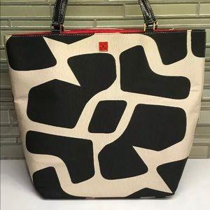 Kate Spade Black and white giraffe print tote